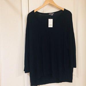 VINCE Black Soft Dolman V Neck Knit Sweater Top S